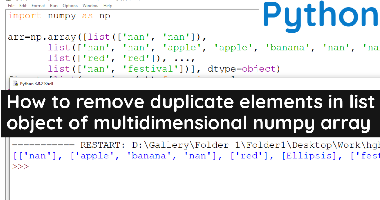 How to remove duplicate elements in list object of multidimensional numpy array in Python