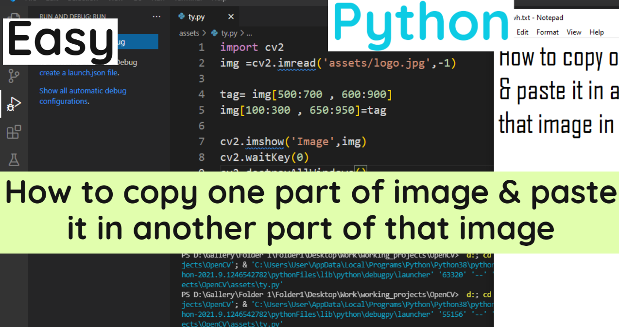 How to copy one part of image & paste it in another part of that image in Python | Using OpenCV library