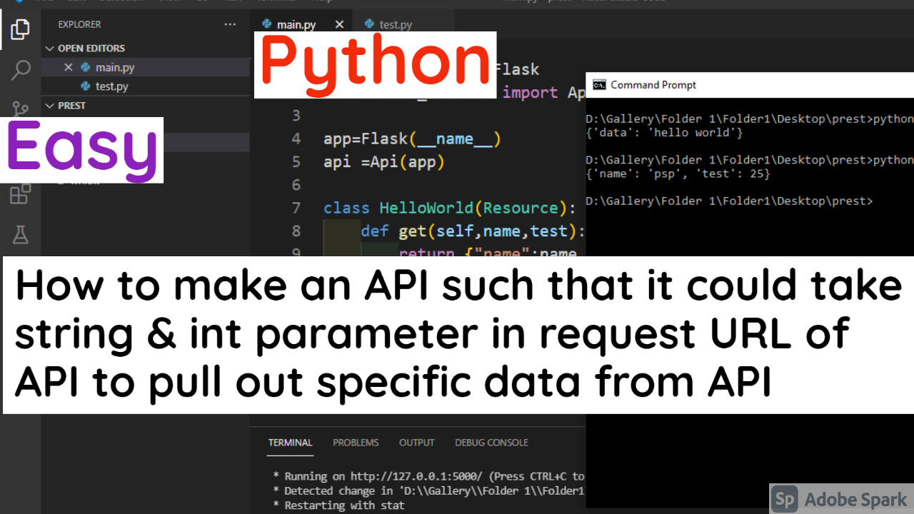 How to make an API such that it  could take string & int parameter in request URL of API to pull out specific data from API in Python